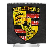 Porsche Sports Car Logo Recycled Vintage License Plate Car Tag Art Shower Curtain