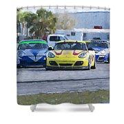 Porsches Rounding The Corner At Sebring Shower Curtain