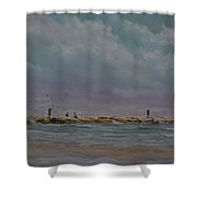 Port Aransas Jetty In Shower Curtain