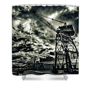 Port Crane At Dusk Shower Curtain
