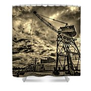 Port Crane At Sunset Shower Curtain