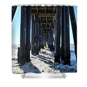 Port Hueneme Pier - Waves Shower Curtain