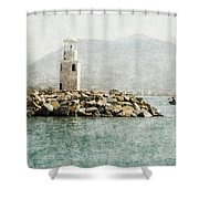Port In Alanya City-turkey  Shower Curtain