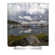 Port Of Anacortes Marina On A Cloudy Day Shower Curtain
