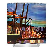 Port Of Hamburg With Container Ships Shower Curtain