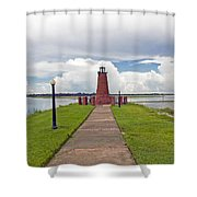 Port Of Kissimmee Lighthouse On Lake Tohopekaliga In Central Florida Shower Curtain