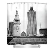 Port Of San Francisco Black And White- Art By Linda Woods Shower Curtain