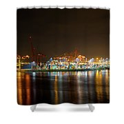 Port Of Vancouver Bc At Night Shower Curtain