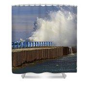 Port Sanilac Harbor Shower Curtain by Kathy DesJardins