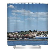 port with ferry boats Corfu Greece Shower Curtain