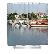 Port With Sailboat And Fishing Boat Shower Curtain