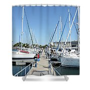 Port With Yacht  Shower Curtain