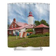 Portage River - Jacobsville - Lighthouse Shower Curtain