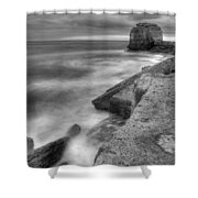 Portland Bill Seascape In Black And White Shower Curtain