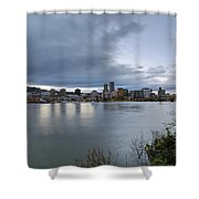 Portland City Downtown Cityscape During Evening Shower Curtain
