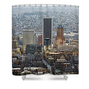 Portland City Downtown Cityscape Panorama Shower Curtain