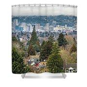 Portland City Skyline From Mount Tabor Shower Curtain