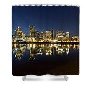 Portland City Skyline Reflection On Willamette River Shower Curtain