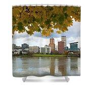 Portland City Skyline Under Fall Foliage Shower Curtain