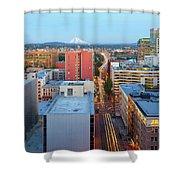 Portland Cityscape Along Morrison Bridge Shower Curtain