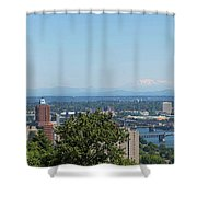 Portland Cityscape And Bridges On A Clear Blue Day Shower Curtain