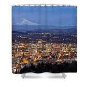 Portland Cityscape During Blue Hour Shower Curtain