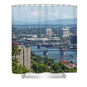 Portland Cityscape With Mount Saint Helens View Shower Curtain