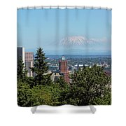 Portland Downtown Cityscape With Mount Saint Helens View Shower Curtain