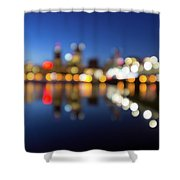 Portland Downtown Skyline Blue Hour Blurred Defocused Bokeh Shower Curtain