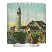 Portland Head Light At Sunrise Shower Curtain