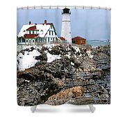Portland Head Light In Winter Shower Curtain
