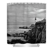 Portland Head Lighthouse - Cape Elizabeth Maine In Black And White Shower Curtain