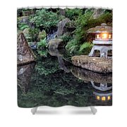 Portland Japanese Garden At Twilight Shower Curtain