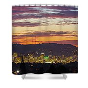 Portland Oregon City Skyline Sunset Panorama Shower Curtain