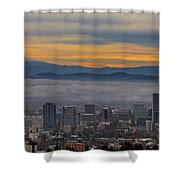 Portland Oregon Cityscape And Mount Hood At Sunrise Shower Curtain