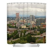 Portland Oregon Downtown Cityscape By Freeway Shower Curtain