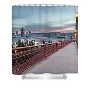 Portland Oregon Downtown On Broadway Bridge Shower Curtain