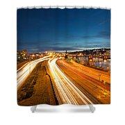 Portland Oregon Interstate Freeway Light Trails Shower Curtain