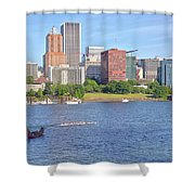 Portland Oregon Skyline And Rowing Boats. Shower Curtain