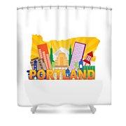 Portland Oregon Skyline In State Map Shower Curtain