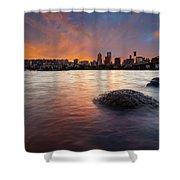 Portland Skyline Along Willamette River At Sunset Shower Curtain