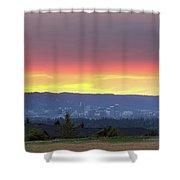 Portland Skyline From Altamont Park At Sunset Shower Curtain