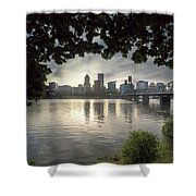 Portland Skyline Under The Trees At Sunset Shower Curtain