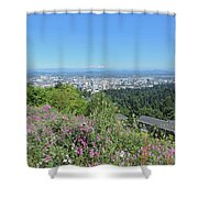Portland Skyline With Mount Hood Shower Curtain