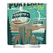 Portland Poster - Tram Retro Travel Shower Curtain