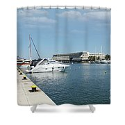 Porto Carras Harbor With Yacht And Resort Shower Curtain