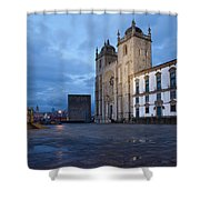 Porto Cathedral And Pillory Column In Portugal Shower Curtain