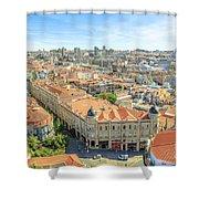 Porto Historic Center Aerial Shower Curtain