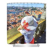 Porto Skyline Woman Shower Curtain