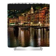 Portofino Bay By Night II - Notte Sulla Baia Di Portofino II Shower Curtain